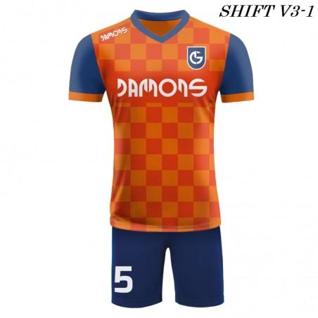 Strój piłkarski Damons SHIFT V3-1 pomarańczowy. Komplety dla piłkarzy.