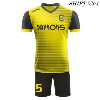 Strój piłkarski Damons SHIFT V2-1 żółty. Komplety dla piłkarzy.