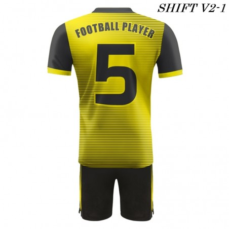 Strój piłkarski Damons SHIFT V2-1 żółty z tyłu. Komplety dla piłkarzy.