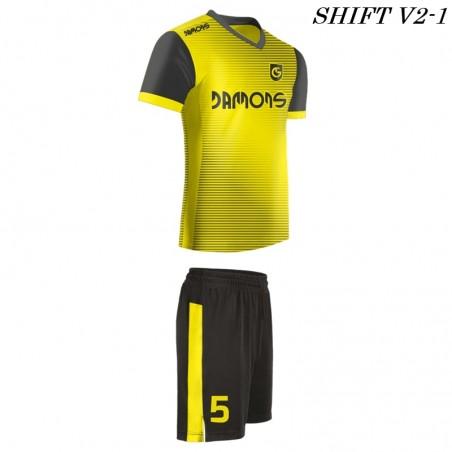 Strój piłkarski Damons SHIFT V2-1 żółty z profilu. Komplety dla piłkarzy.