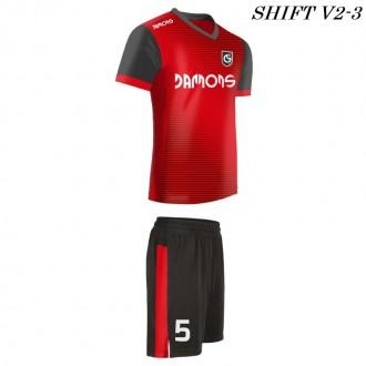 Strój piłkarski Damons SHIFT V2-3 czerwony. Komplety dla piłkarzy.