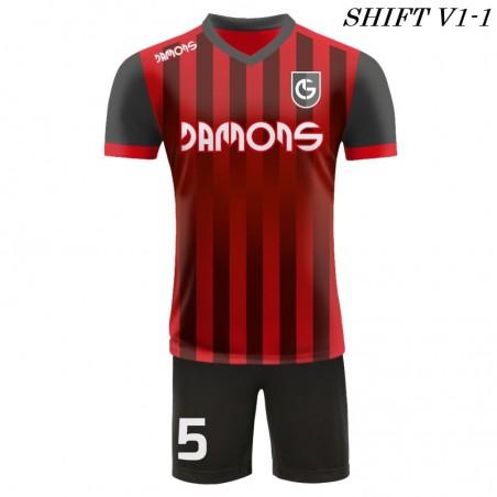 Strój piłkarski Damons SHIFT V1 czerwony /przód. Komplety dla piłkarzy.