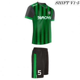 Strój piłkarski Damons SHIFT V1-5 zielony w paski. Komplety dla piłkarzy.
