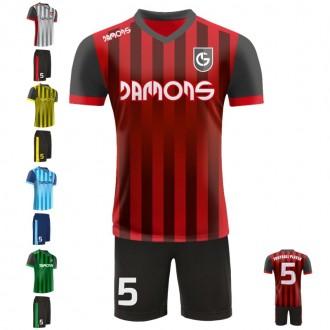 Stroje piłkarskie Damons SHIFT V1 w pięciu kolorach. Komplety dla piłkarzy.