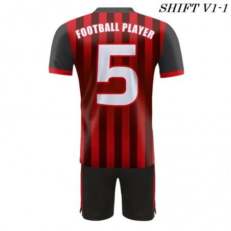 Stroje piłkarskie Damons SHIFT V1 czerwony/ tył. Komplety dla piłkarzy.