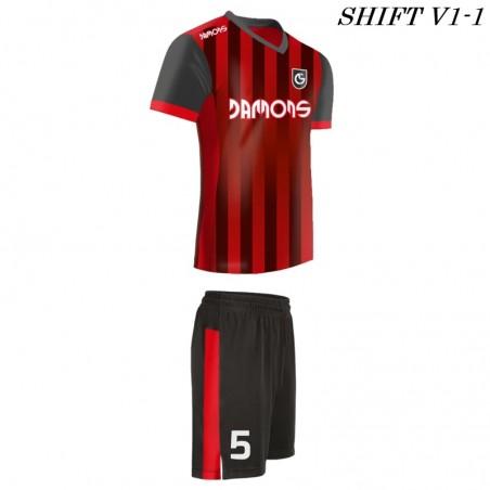 Stroje piłkarskie Damons SHIFT V1 czerwony w paski. Komplety dla piłkarzy.