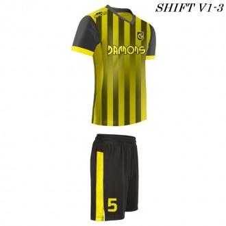 Strój piłkarski Damons SHIFT V1-3 żółty w paski. Komplety dla piłkarzy.