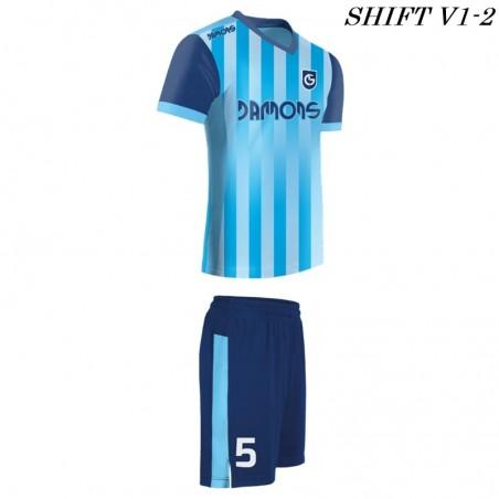 Strój piłkarski Damons SHIFT V1-2 niebieski w paski. Komplety dla piłkarzy.