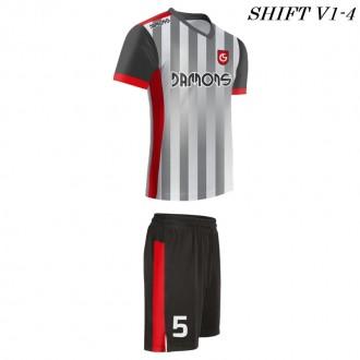 Strój piłkarski Damons SHIFT V1-4 szary w paski. Komplety dla piłkarzy.