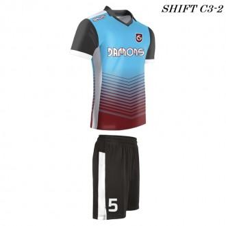 Strój piłkarski Damons SHIFT C3-2 niebieski. Komplety dla piłkarzy.