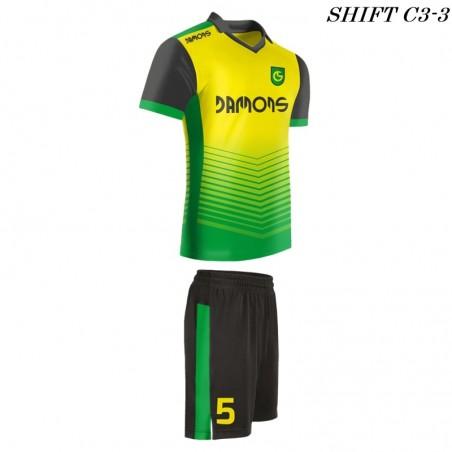 Strój piłkarski Damons SHIFT C3-1 żółty  profil. Komplety dla piłkarzy.