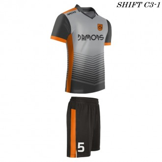 Strój piłkarski Damons SHIFT C3-1 szary. Komplety dla piłkarzy.