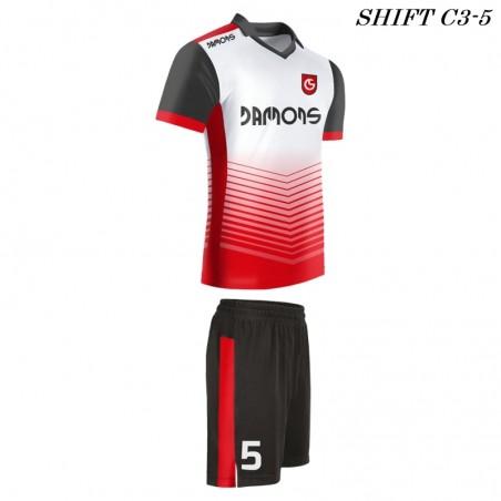 Strój piłkarski Damons SHIFT C3-4 biało-czerwony. Komplety dla piłkarzy.