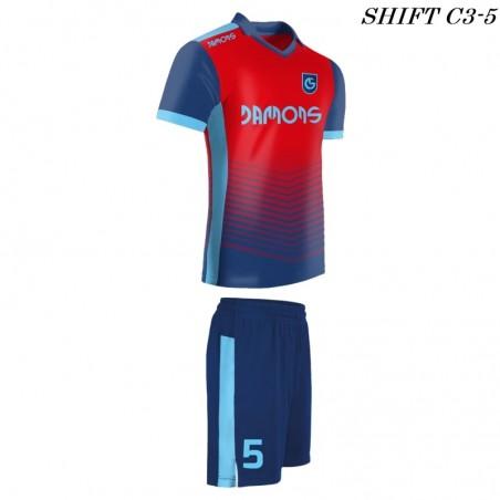 Strój piłkarski Damons SHIFT C3-5 czerwono-niebieski. Komplety dla piłkarzy.
