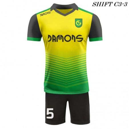 Strój piłkarski Damons SHIFT C3-1 żółty  przód. Komplety dla piłkarzy.
