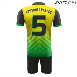 Strój piłkarski Damons SHIFT C3-1 żółty  plecy. Komplety dla piłkarzy.