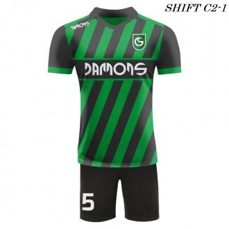 Strój piłkarski Damons SHIFT C2-1 zielony przód. Komplety dla piłkarzy.