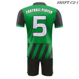 Strój piłkarski Damons SHIFT C2-1 zielony plecy. Komplety dla piłkarzy.