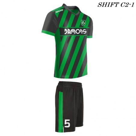 Strój piłkarski Damons SHIFT C2-1 zielony z profilu. Komplety dla piłkarzy.