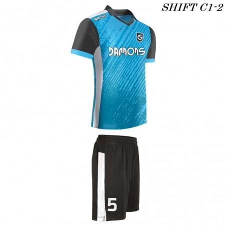 Strój piłkarski Damons SHIFT C1-2 niebieski. Komplety dla piłkarzy.