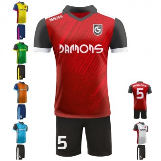 Stroje piłkarskie Damons SHIFT C1 różne kolory. Komplety dla piłkarzy.