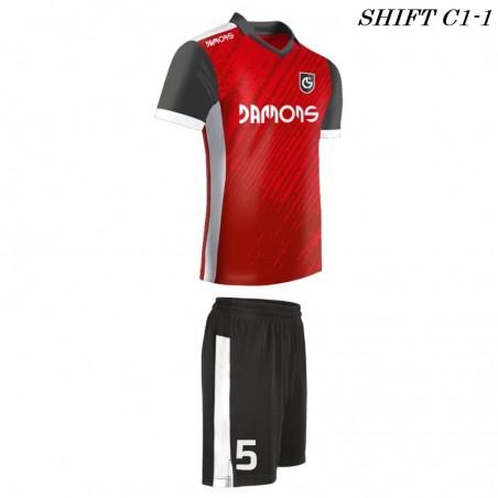 Strój piłkarski Damons SHIFT C1-1 profil prawy. Komplety dla piłkarzy.