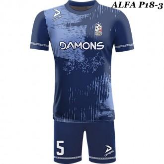 Strój piłkarski Damons ALFA P18-3. Komplety dla piłkarzy.