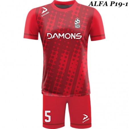 Strój piłkarski ALFA P18-1. Komplet dla piłkarzy z sublimowaną koszulką