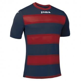 Koszulka piłkarska z krótkim rękawem Joma Europa III 100405- Czerwono granatowe pasy