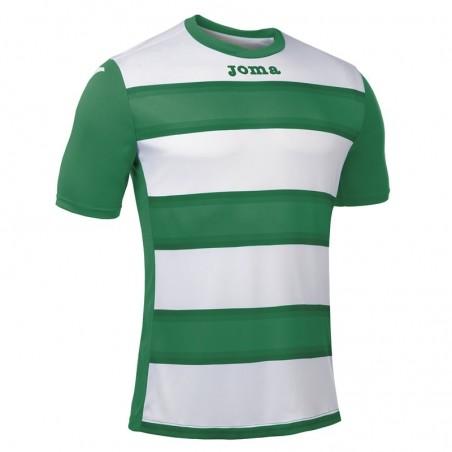 Koszulka piłkarska z krótkim rękawem Joma Europa III 101546- zielona z białymi pasami