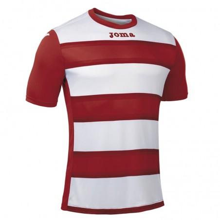 Koszulka piłkarska z krótkim rękawem Joma Europa III 101546- Czerwona z białymi pasami