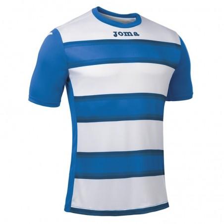 Koszulka piłkarska z krótkim rękawem Joma Europa III 101546- niebieska z białymi pasami