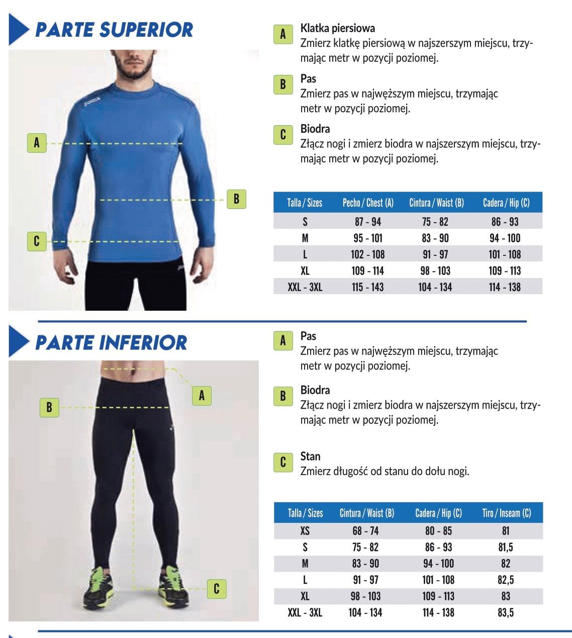 Tabela rozmiarów  Joma Men